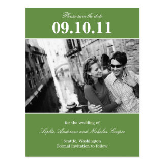 Bold Reminder Save The Date Postcard (Green)