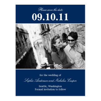 Bold Reminder Save The Date Postcard (Navy)