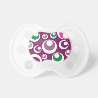 Bold Retro Circles Bubbles Purple Green Pattern Pacifiers