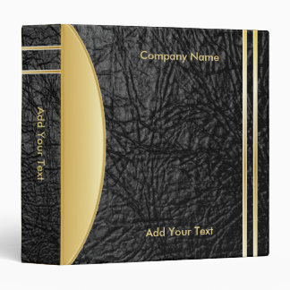 Bold Rich Black Leather and Gold Company Design Binder