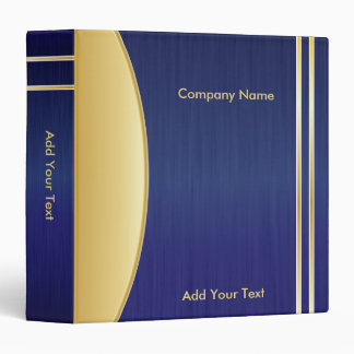 Bold Rich Blue and Gold Company Design 3 Ring Binder