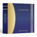 Bold Rich Dark Blue and Gold Company Design Vinyl Binders