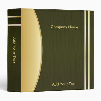 Bold Rich Dark Olive Green and Gold Company Design 3 Ring Binder