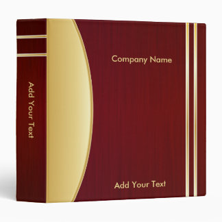Bold Rich Dark Red and Gold Company Design 3 Ring Binder