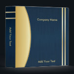 """Bold Rich Darkest Blue and Gold Company Design 3 Ring Binder<br><div class=""""desc"""">Company Binder in a bold, elegant brush dark blue with gold accents. Available in several colors. A fabulous look for your company, work shop, etc... Great for the office, home or school. 100% Customizable. Ready to Fill in the box(es) or Click on the CUSTOMIZE button to add, move, delete or...</div>"""