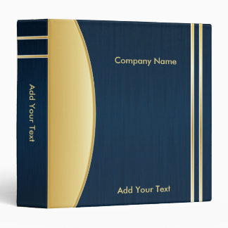 Bold Rich Darkest Blue and Gold Company Design 3 Ring Binder