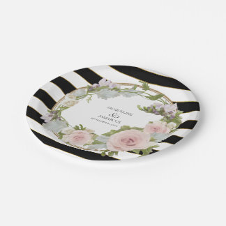 Bold Romantic Rose Floral Wreath Hand Painted Art Paper Plate