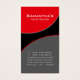 Bold Salon Spa Business Card red gray