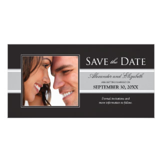 Bold Silver Stripe Save the Date Announcement Photo Card