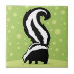 Bold Skunk Illustration With Green Dots Ceramic Tile