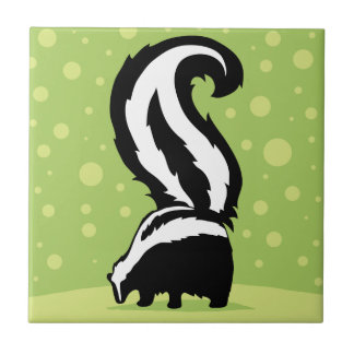 Bold Skunk Illustration With Green Dots Ceramic Tile