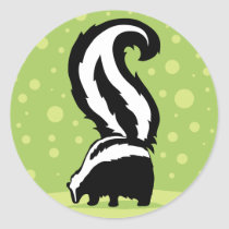 Bold Skunk Illustration With Green Dots Classic Round Sticker