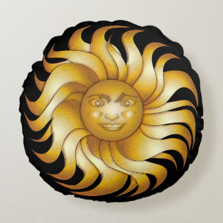Bold Smiling Sun on Black #1 Round Pillow
