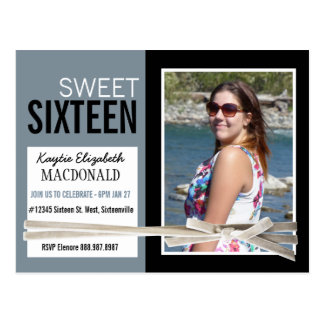 Bold Smoky Blue Sweet 16 Party with Photo Postcard