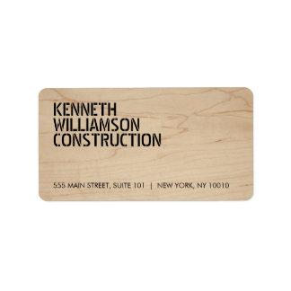 Bold Stenciled Wood Construction Address Label
