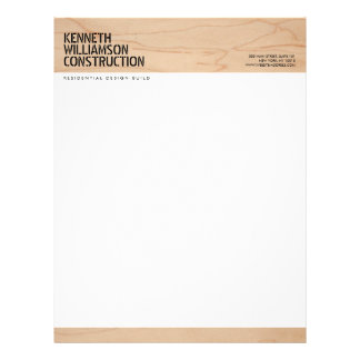 Bold Stenciled Wood Construction Letterhead