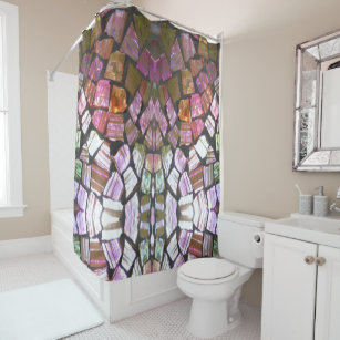 Bold Striking Glass Mosaic Shower Curtain