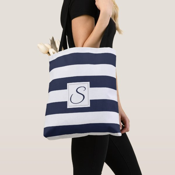 Bold Stripe Monogram Navy Tote Bag