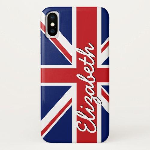 Bold Stripe Pattern - Union Jack Flag with Name Phone Case