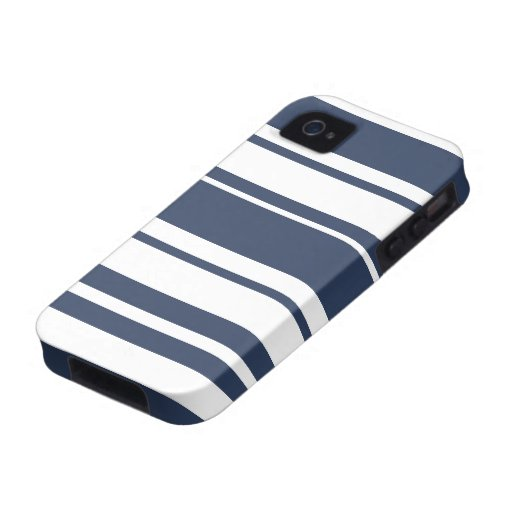 Bold Stripe Pattern - white and nautical navy Case-Mate iPhone 4 Cases