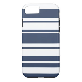 Bold Stripe Pattern - white and nautical navy iPhone 8/7 Case