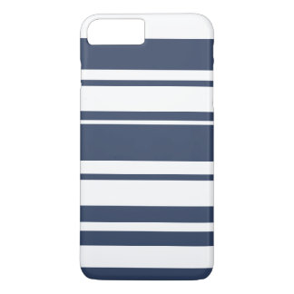 Bold Stripe Pattern - white and nautical navy iPhone 8 Plus/7 Plus Case