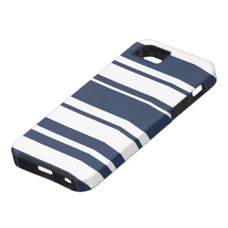 Bold Stripe Pattern - white and nautical navy iPhone SE/5/5s Case