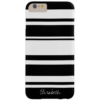 Bold Stripe Pattern with Name - black white Barely There iPhone 6 Plus Case