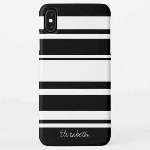 Bold Stripe Pattern with Name - black white Phone Case