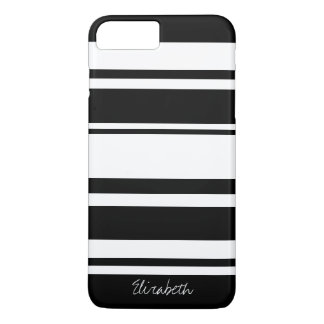 Bold Stripe Pattern with Name - black white iPhone 7 Plus Case