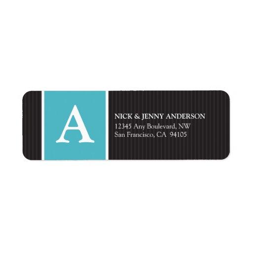 Bold Stripe Return Address Label (aqua)