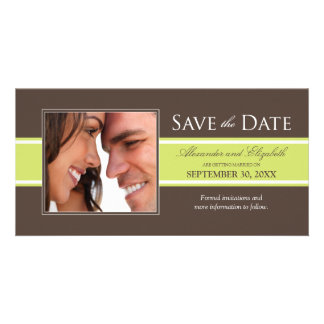 Bold Stripe Save the Date (chocolate/lime) Card