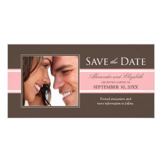 Bold Stripe Save the Date (chocolate/pink) Photo Card