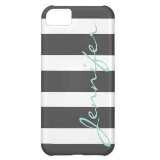 Bold Striped iPhone 5 Barely There Case | Charcoal Cover For iPhone 5C