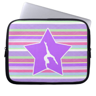 Bold Stripes and Star Gymnastics Laptop Sleeve