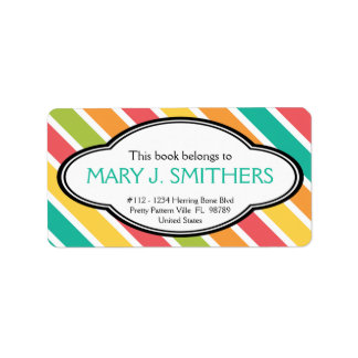 Bold Stripes Colorful Ladies Bookplate Address Label
