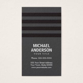 Bold stripes dark gray and black business card