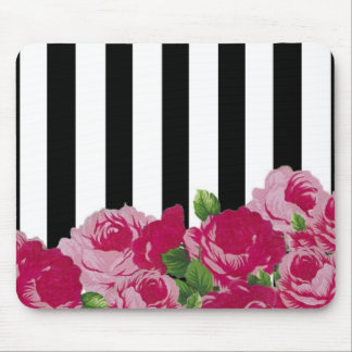 BOLD STRIPES FLORAL MOUSE PAD