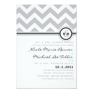 "Bold Stripes Monogram Wedding Invitation 5"" X 7"" Invitation Card"