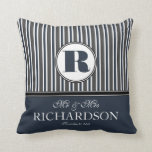 Bold Stripes Mr and Mrs Couple Personalized Pillows