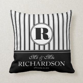 Bold Stripes Pattern Monogram Mr and Mrs Throw Pillow