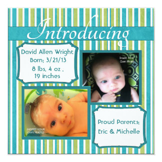"""Bold Stripes Photo Birth Announcement 5.25"""" Square Invitation Card"""