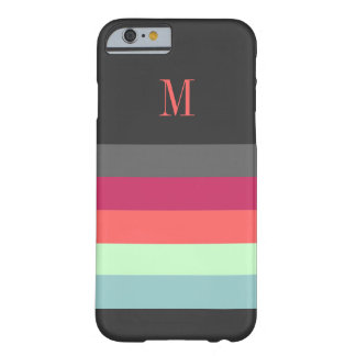 Bold Stripes with Monogram Barely There iPhone 6 Case