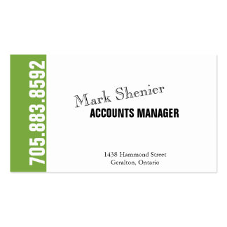 Bold Stylish Accountant Simple Green Business Card