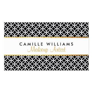 BOLD stylish gold strip circle pattern black white Business Card