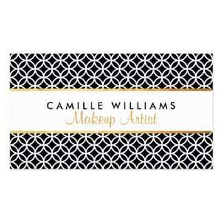 BOLD stylish gold strip circle pattern black white Double-Sided Standard Business Cards (Pack Of 100)