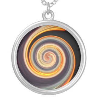 Bold Sunset Spiral Fractal Round Necklace