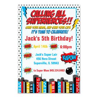 Bold Superhero Birthday Inviation Card