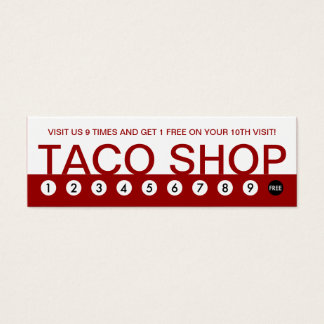 bold TACO SHOP customer loyalty Mini Business Card