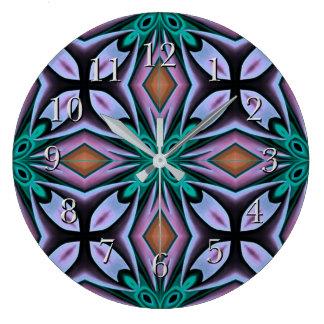 Bold Teal and Purple Floral Fractal Large Clock